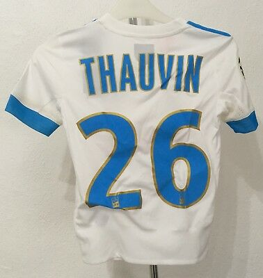 Olympic Marseille 2017/18 S/s Home Shirt Thauvin 26 By Adidas Boys 7-8 Years New
