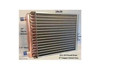 """Water to Air Heat Exchanger 14x16~~1"""" Copper Ports w/ EZ Install Front Flange"""
