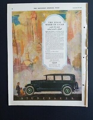 1926 Studebaker president final word in a car color vintage ad