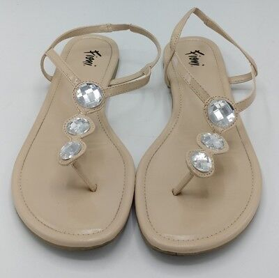 149c2d5be Fioni ladies womens Size 8 Jeweled Nude Patent Leather Sandal Thongs Flats