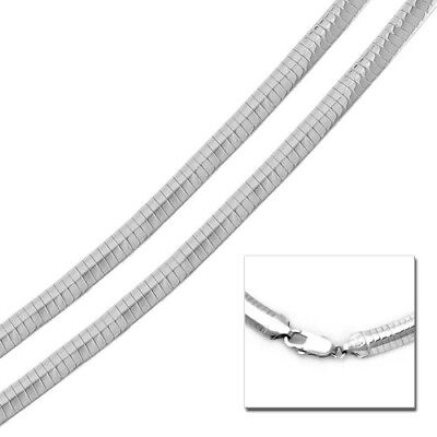 Solid 925 Sterling Silver High Polished Flat Omega Chain 8mm Italian Made