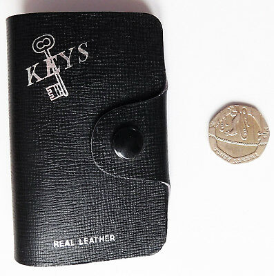 Vintage black key pouch wallet real leather English holder for 4 keys c 1970s