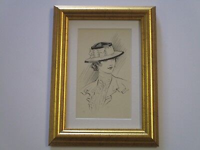 Antique Ink Drawing Gibson Smith Leyendecker Era Mystery Stylish Art Deco Woman