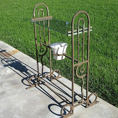 Antique Early 20Th Century Arts And Crafts Deco  Metal Sculpture Stand Vtg Table