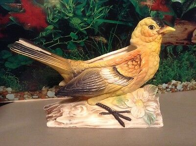 "Beautiful Yellow Goldfinch Bird Planter Ceramic Vintage Japan 6""H X 8 1/4"" L"
