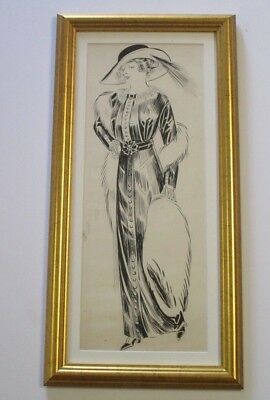 Antique Ink Drawing Gibson Smith Leyendecker Era Mystery Stylish Art Deco Fur