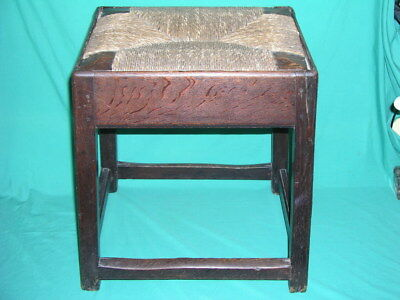 Antique Oak Wooden Joint Stool With Wicker Seat c 1800