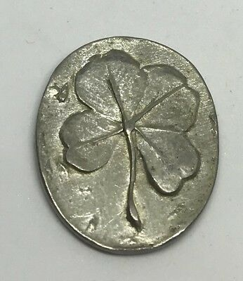 Handmade Four 4 Leaf Coin Token Good Luck Oval