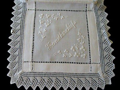 GORGEOUS Antique Linen Lace Hanky Case Whitework Hand Embroidered Handkerchief