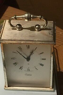 Swiza 8 Day Miniature Carriage Alarm Clock - Swiss Made - Vintage Swiss Quality