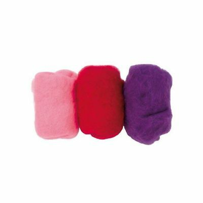 schafwolle-mischpackung, 30g, rosa-lila-mix