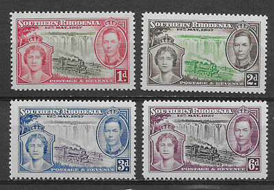 Southern Rhodesia , 1937 , Coronation , Set Of 4 Stamps  , Perf , Mnh
