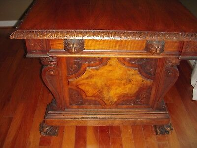19th C. Italian Carved Figural Light Walnut Library Table/Desk