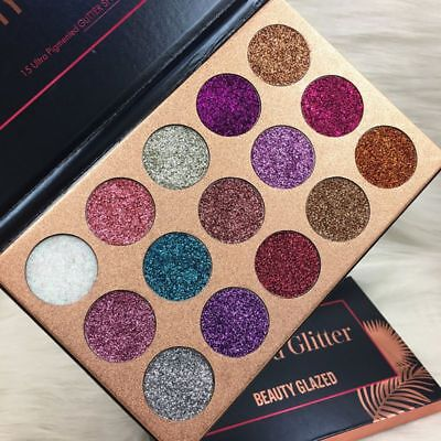 US 15Colors Diamond Glitter Eye Shadows Rainbow Cosmetic Make Up Pressed Palette