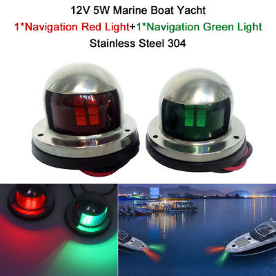 2x Marine Boat Yacht Pontoon 12V Stainless Steel LED Bow Navigation Lights F7P8