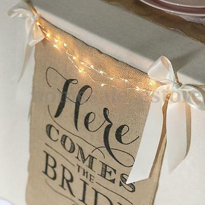 """""""Here Comes The Bride"""" Burlap Bunting Banner Sign Rustic Wedding Party Decor"""