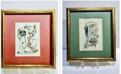 "VINTAGE PAIR OF FRENCH CHARMING PRINTS FRAMED GOLD GUILD 12""x12"""