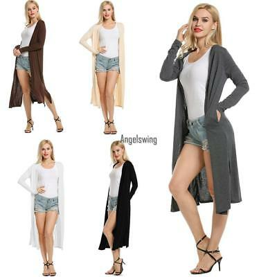 2018 Women's Casual Long Sleeve Solid Open Front Slit Long Maxi Cardigan