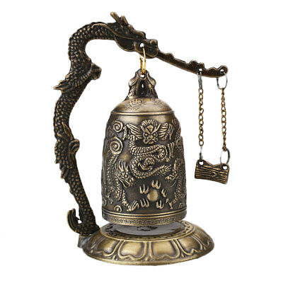 Lucky China Buddhism Brass Copper Carved Statue Lotus Dragon Bell Clock