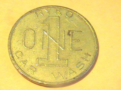 TOKEN CAR WASH TOKEN 28mm LARGE RYKO ONE 1 CAR WASH BRASS