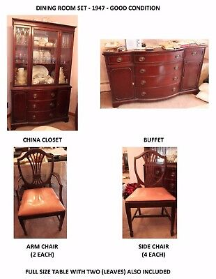 Antique Vintage Mahogany Dining Room: Buffet, Breakfront, Table, Chairs (6)