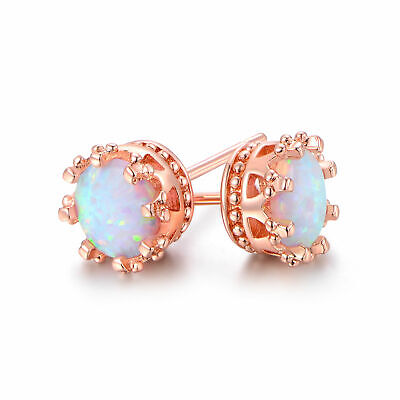 NEW! Fire Opal Crown Stud Earrings in 18K Rose Gold Plated