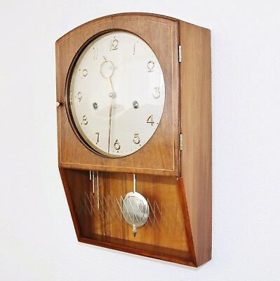 GERMAN KIENZLE WALL Clock SPECIAL Art Deco 1950s Vintage Chime High Gloss INLAY