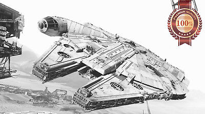 New Millennium Falcon Chased By Tie Fighter Star Wars Movie Print Premium Poster
