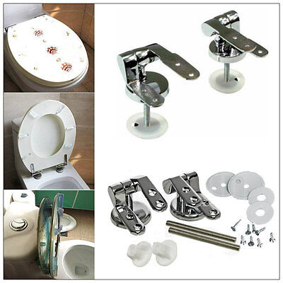 Set Of Chrome Replacement Toilet Seat Hinges Pair of Hinges with Fittings Spare