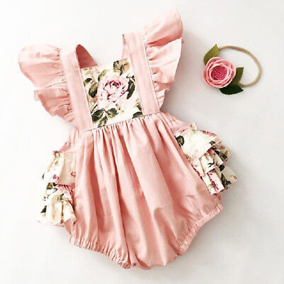 AU Canis Toddler Baby Girls Floral Romper Bodysuit Jumpsuit Headband Outfit 2pcs