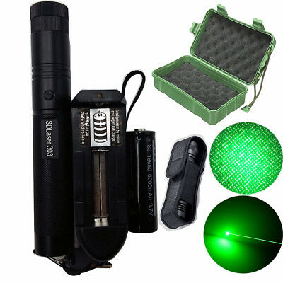 50Mile Laser Pointer Kits Green 1mW Lazer Pen Beam Burn 18650 Battery Charger UK
