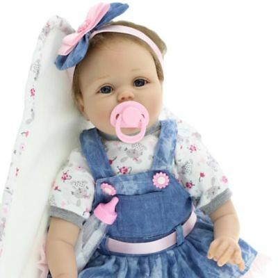 "22"" Full Body Silicone Reborn Dolls Lifelike Baby Girl Newborn Doll Gifts RLTS"