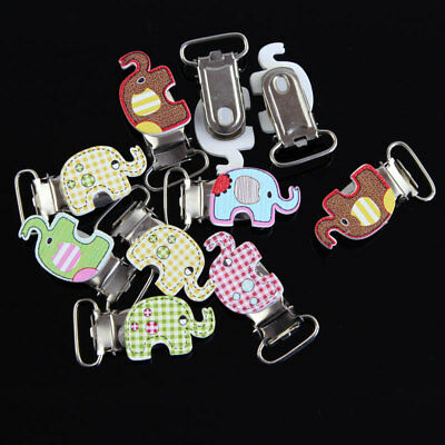 10 Pcs Mixed Colour Elephant Metal Pacifier Suspender Clips Dummy Strap Brace