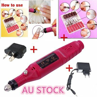 Electric Nail Drill Bits 6 File Tool Machine Acrylic Art Manicure Pen Shaper T9