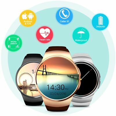 KW18 Round Smart Watch Bluetooth SIM GSM Phone Mate for iPhone Samsung Android