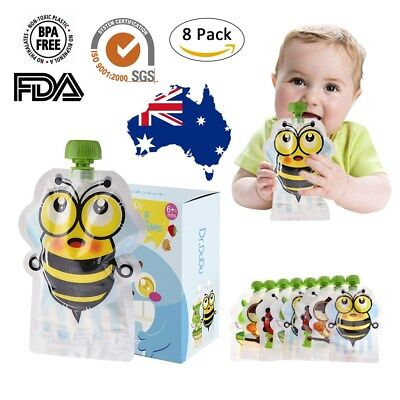 Refillable 8 Pack Baby Reusable Food Pouch Resealable Great For Snacks And Drink