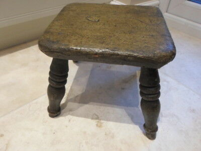 Antique Victorian 4 legged milking stool, solid wood, rustic farmhouse