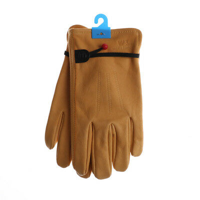 Yellow Factory Driver Climbing Garden Cowhide Leather Protective Work Gloves