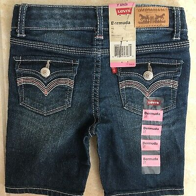 NEW Levis Girls 3T Denim Bermuda Long Shorts Blue Jean MSRP $36 Adjustable Waist