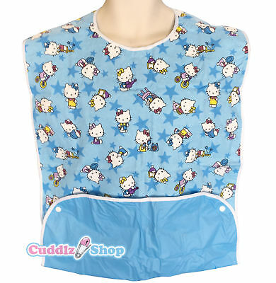 Cuddlz Blue Kitty Cat Pattern Reversible Adult Size Feeding Bib Extra Large Size