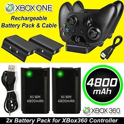USB Controller Charger Docking Station 2 x Rechargeable Battery For Xbox 360 One