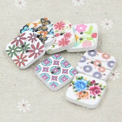 40pcs Mixed Colors 2 Holes Square Button Sewing Scrapbooking Wooden Buttons 24mm
