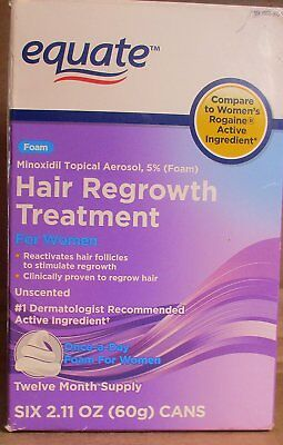 Equate Hair Regrowth Treatment, 6 Cans, Twelve Month Supply, Foam