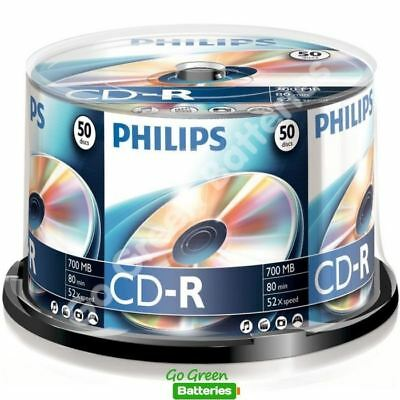 50 x Philips CD-R Blank Recordable Discs 80 Mins 700MB 52x Speed Spindle Pack