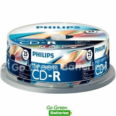 25 x Philips CD-R Blank Recordable Discs 90 Mins 800MB 40x Speed High Capacity