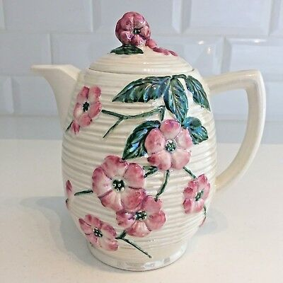 Vintage Hot Water Jug / Coffee Pot Maling Apple Blossom Lustre Ware Pink Floral