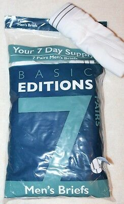 44fc9f90ff Basic Editions Men s 100% Cotton White Brief 7-Pack Briefs Small 28-30