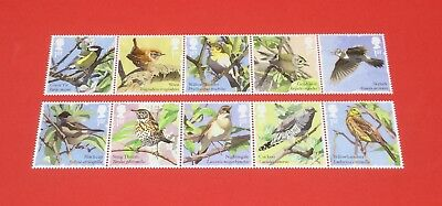 Gb 2017 Songbirds Set Of 10 Stamps Mnh In 2 Strips Of 5.