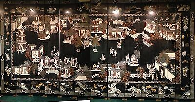 Early-mid 1900s Wooden Panel Chinese Coromandel Wall Screen, Double-Sided 9x18'