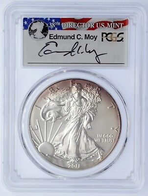 2011-W $1 Burnished Silver Eagle SP70 PCGS Ed Moy R/W/B Label